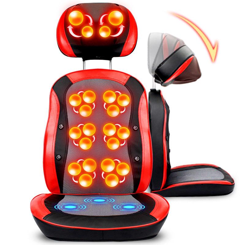 New 5D Electric Heating Back Massager Vibra Cervical Massage Device Multifunction Pillow Neck Household Full-body Massage Chair