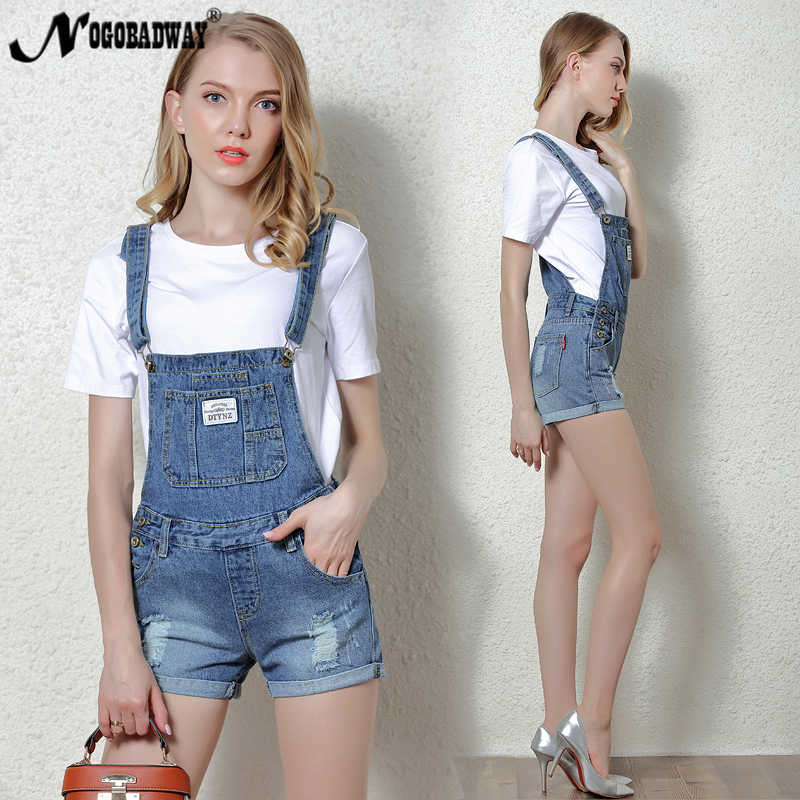 5544730a3e ... Short Denim Jumpsuit Romper Women Summer Overalls Casual Jeans Short  Playsuits Distressed Details Slim Dungarees Femme ...
