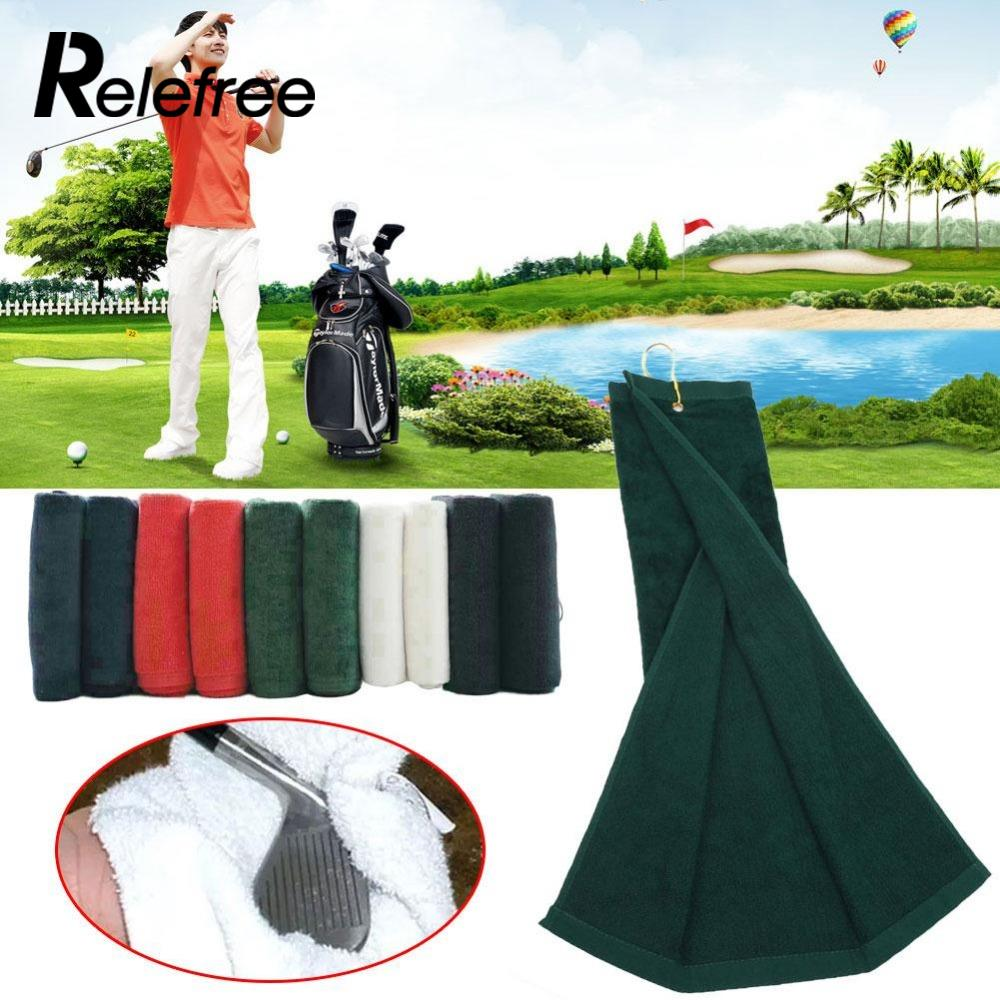 цена Relefree Golf Towel Microfiber Cotton Water Absorption sport Golf Towel Comfortable Soft For Adults