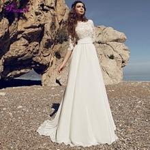 Fsuzwel Sexy A-Line Wedding Dress 2019 Three Quarter Sleeve