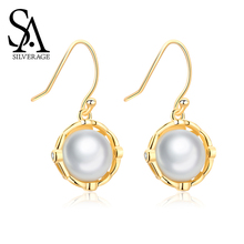 SA SILVERAGE Pearl Earrings Drop Women Jewelry S925 Gold Plated Long Eardrop Sterling Gold-plated