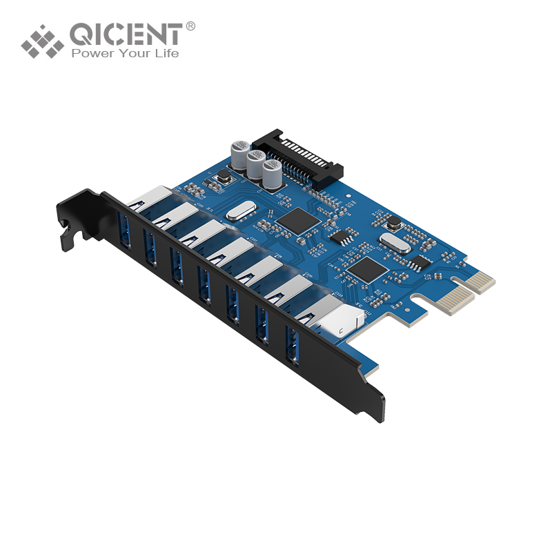 QICENT PU30 USB 3.0 PCI-E Post Card 1 to 7 Ports PCI Riser Card Adapter 5 Gbps