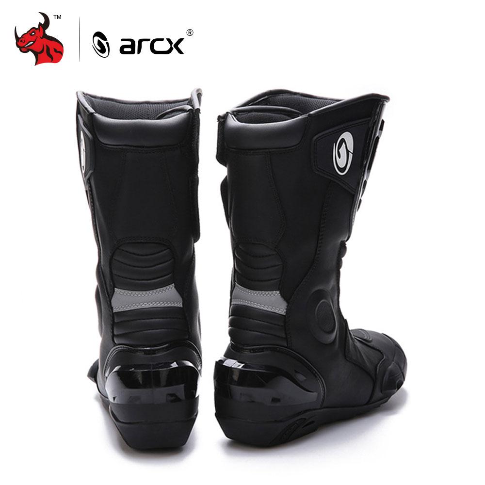 ARCX Motorrad Stiefel Echte Kuh Leder Motocross Stiefel Männer Wasserdichte Moto Stiefel Motorrad Reiten Stiefel Schwarz Botas Moto #