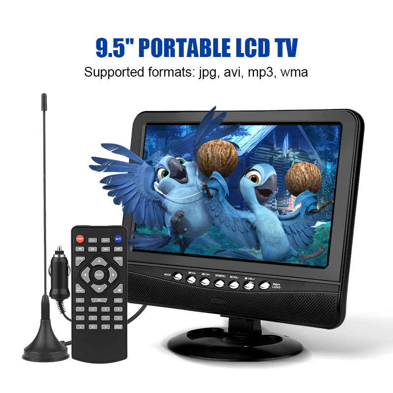 9 5inch Portable LCD TV Analog Car Analog Mobile TV Television Remote Control 110 240V Outdoor