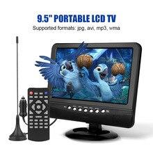9,5 дюймов Портативный ЖК-телевизор аналоговый автомобильный аналоговый мобильный ТВ Телевизор пульт дистанционного управления 110-240 в открытый аналоговый ТВ США штекер