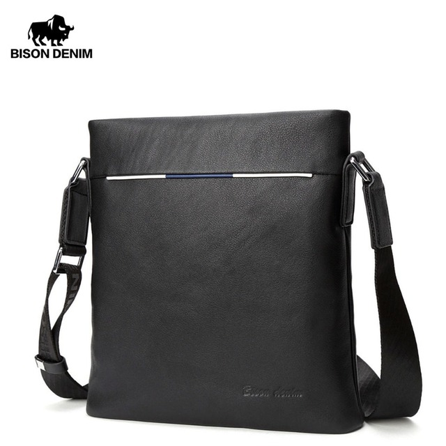 65f420b1d4 BISON DENIM Brand Men s Bag Genuine Leather Male Shoulder Bags Business  Flap iPad Bag Travel Crossbody