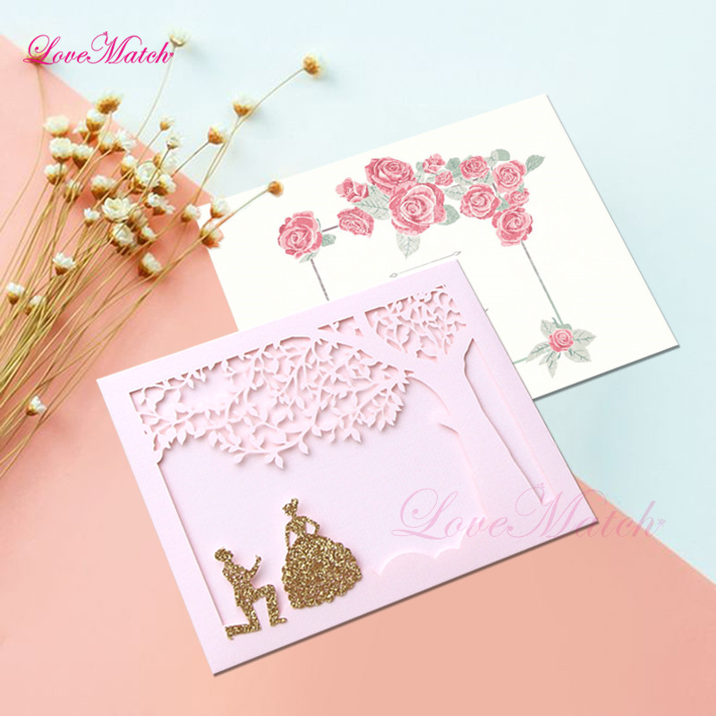 50pcs Laser Cut Groom And Bride Greeting Cards Wedding Invitation Cards Love Tree White Pocket Cards Wedding Party Decoration