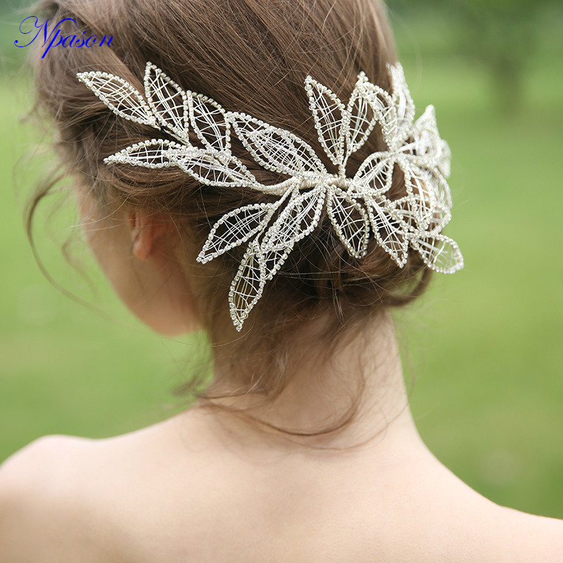 Mariée luxe chapeaux de mariage bijoux de cheveux strass fleur femmes diadème mariée robe complète épingle à cheveux ornements de mariée Hot SellD2292