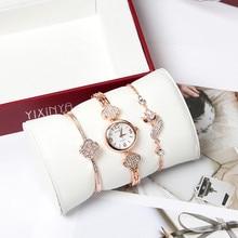 купить 3pc/set Luxury brand Women Rhinestone Watch Crystal Ceramic Watches Female Quartz Wristwatches Lady Dress Watch relogio feminino дешево