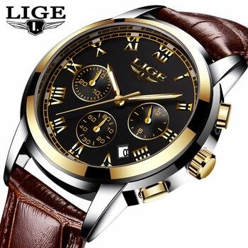 LIGE Watch Men Thời Trang Thể Thao Quartz Đồng Hồ Mens Đồng Hồ Top Brand Luxury Vàng Không Thấm Nước Kinh Doanh Da Xem Relogio Masculino