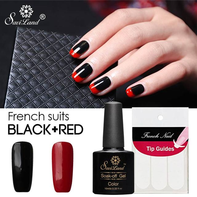 Saviland 2pcs Black Red Color Uv Gel Nail Polish Art Set Free Tip Guides