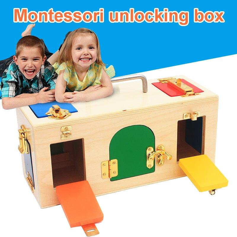 Hermosa caja de bloqueo Montessori de alto rendimiento y entretenimiento clave juguete de madera chico niños