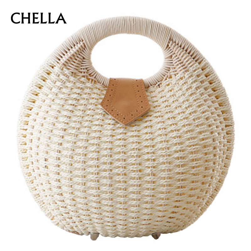 Women Straw Bag Snail's Nest Female Beac