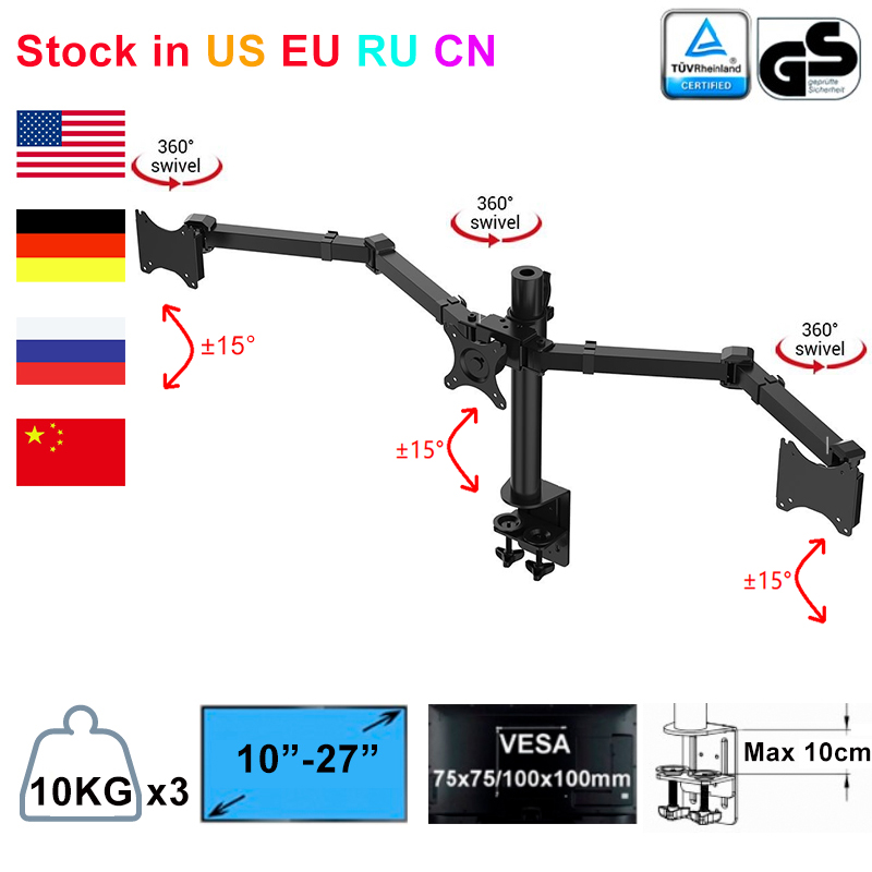 Triple Monitor Arms Full Motion Desktop Mount Stand Fit for Three LCD Screens 10 27 Max