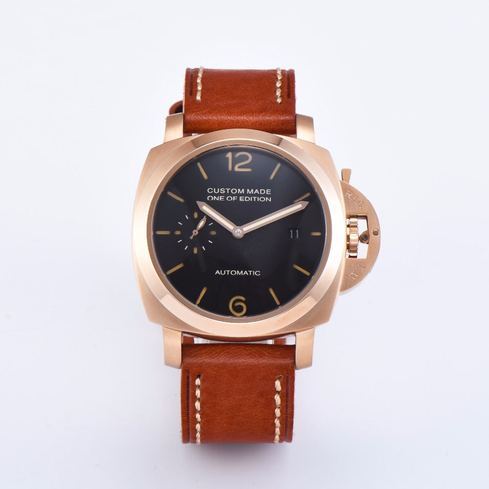 42mm  stainless steel gold case mens watch parnis black dial brown leather strap calendar automatic date P920-1642mm  stainless steel gold case mens watch parnis black dial brown leather strap calendar automatic date P920-16