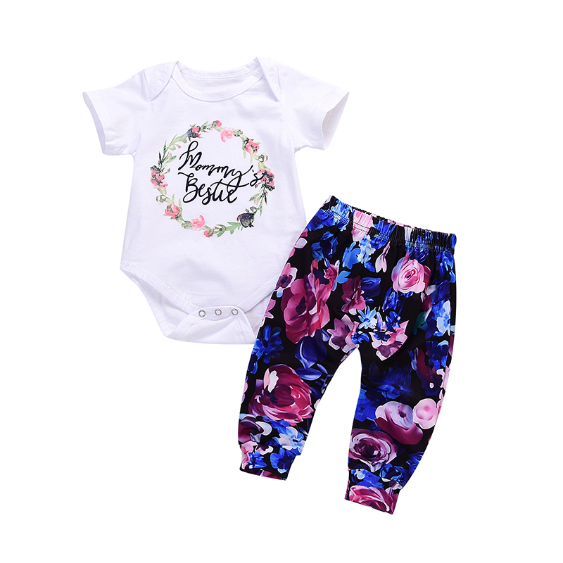 2Pcs Newborn Infant Baby Girls Letters White Romper+ Floral Printed Long Pants Christmas Outfit Winter ship from USA