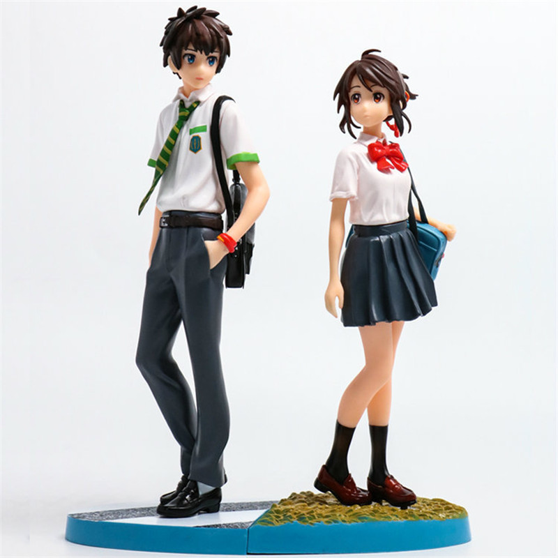 Best anime movies Your Name Kiminonawa Tachibana Taki Miyamizu Mitsuha PVC Action Figures Model Collection Dolls Toys Gift 6pcs set disney trolls dolls action figures toys popular anime cartoon the good luck trolls dolls pvc toys for children gift
