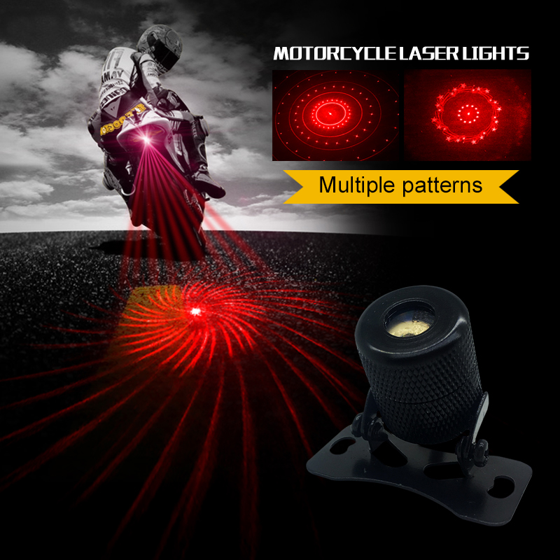1PCS Motorcycle lights Laser fog light safety Anti Collision Rear-end fogger rain Safe Safe Driving Red warning lights 6 pattern for chevy chevrolet lacetti matiz automotive anti rear fog light vehicle collision warning safety laser fog lights