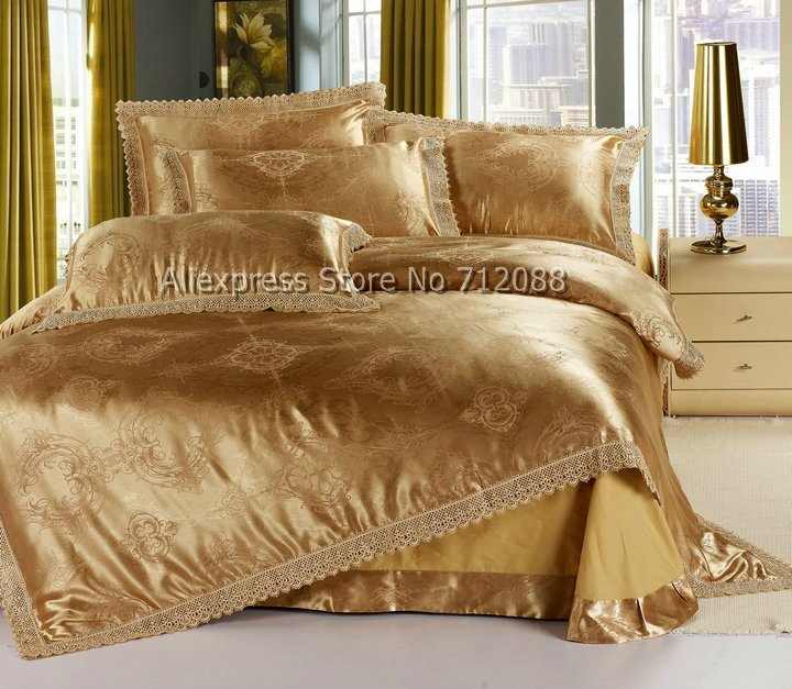 Satin Cotton Fabric Luxurious Jacquard Embroidered Duvet Covers Sets 4pcs Coffee Gold Prints Queen Full King Bedding In From Home Garden