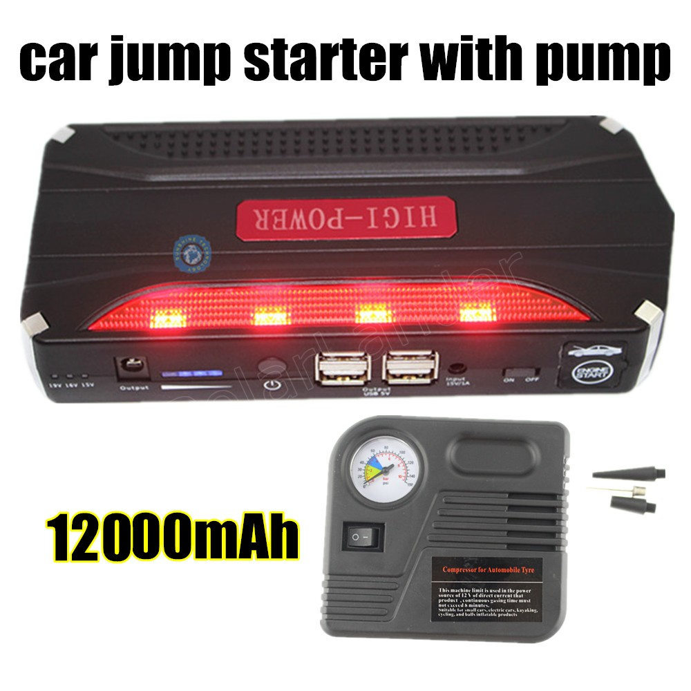 Car Power Bank Car Jump Starterwith Pump AUTO Engine Booster Emergency Start Battery Portable Charger Power Bank For Electronics