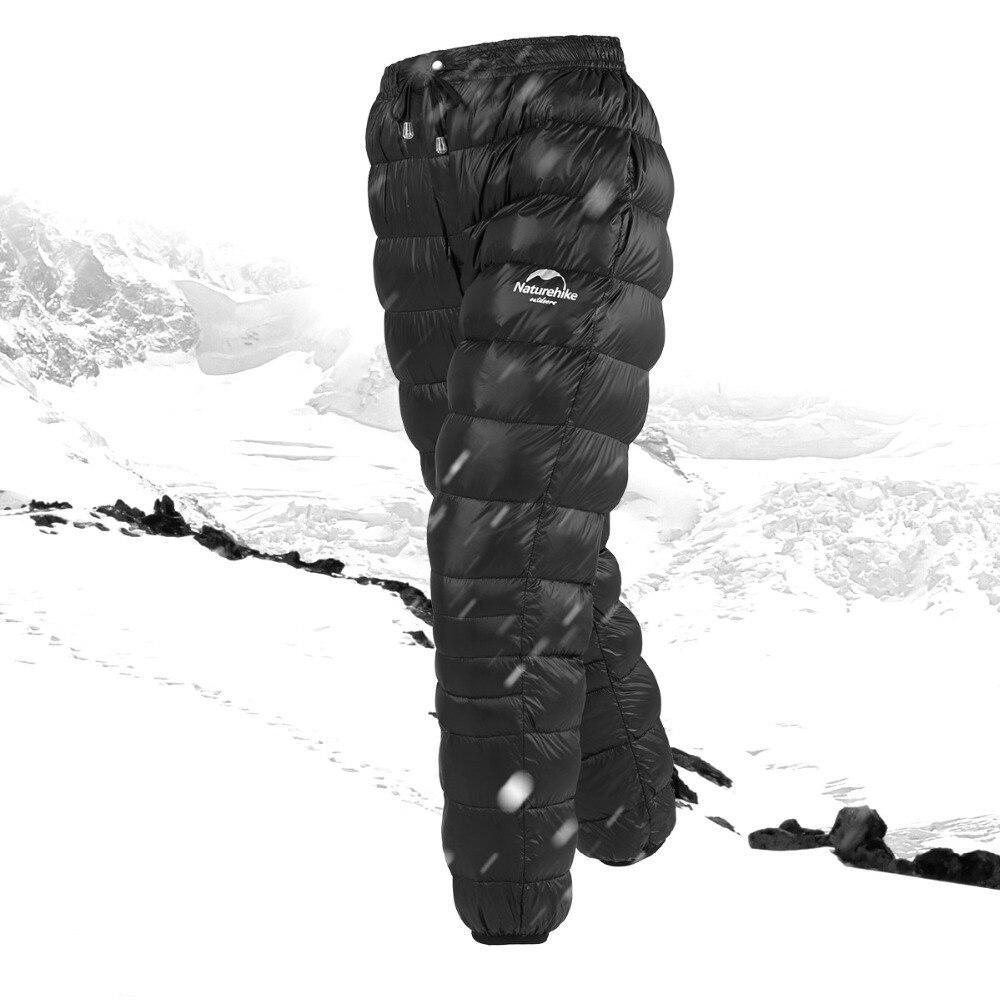 Naturel randonnée en plein air en duvet pantalon imperméable à l'eau porter hommes femmes alpinisme camping chaud hiver blanc en duvet d'oie pantalon nouvelle promotion