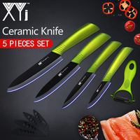 XYj Kitchen Knives Ceramic Knife 3 4 5 6 Zirconia Japanese Knife Peeler Black Blade Paring