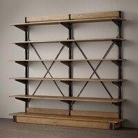 Лофт Кантри Стиль полка из кованого железа винтажная деревянная витринная полка для книжного шкафа  