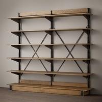 LOFT American country style wrought iron shelf vintage wood display shelf bookcase shelf |