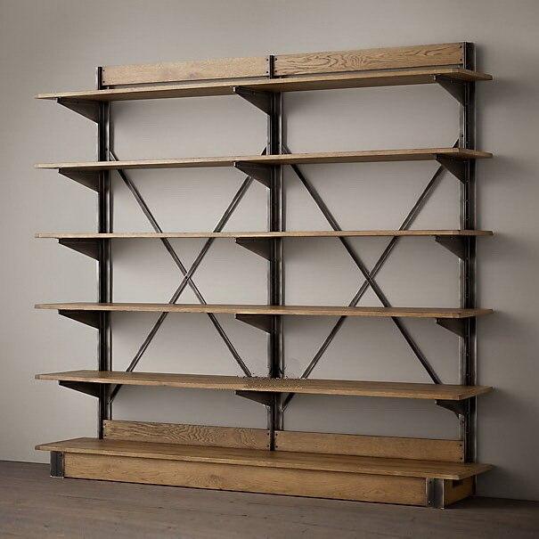 US $5852.0 |LOFT paese Americano stile in ferro battuto mensola di  esposizione mensola di legno d\'epoca libreria scaffale | in LOFT paese  Americano ...