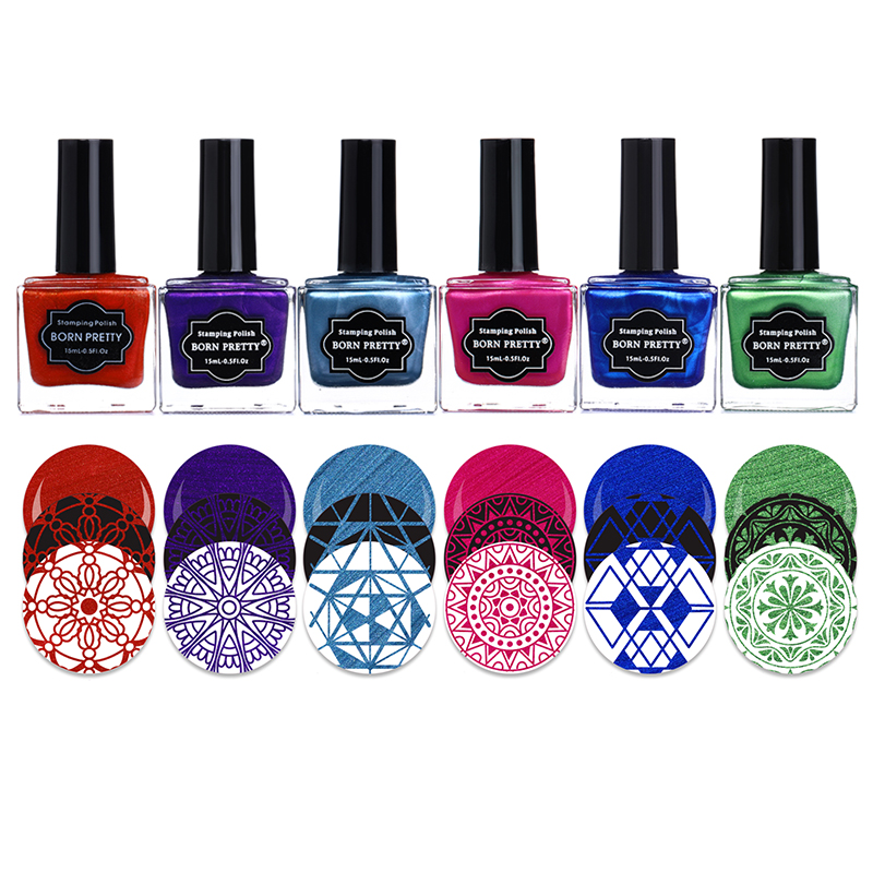 BORN PRETTY Stamping Polish Set Black White Silver Red Purple Blue Nail Art Varnish Lacquer Stamping Nail 15ml 6ml