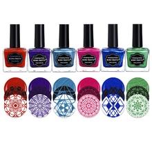 Лидер продаж, 6 Бутылочки/комплект 15 мл Shimmer родился довольно штамповка польский Красный Фиолетовый Синий 6 цветов Дизайн ногтей Лаки тиснения ногтей