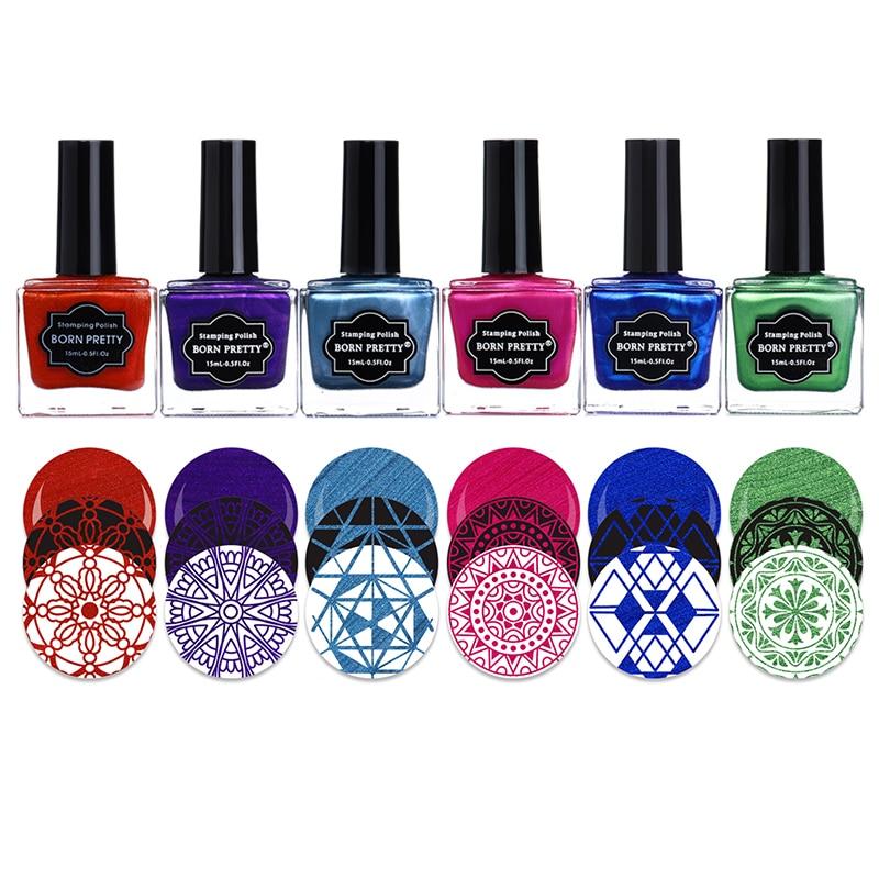 NÉS JOLIE Estampage Polonais Ensemble Noir Blanc Argent Rouge Violet Bleu Nail Art Vernis Laque Stamping Nail 15 ml 6 ml