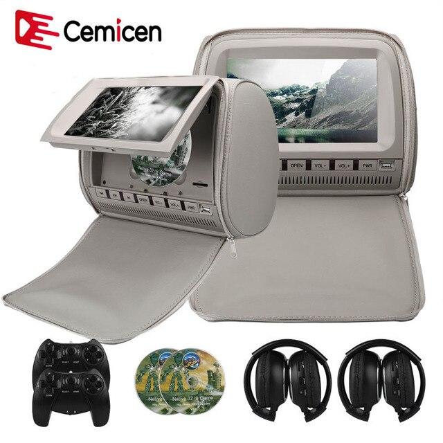 Cemicen 2 ピース 9 インチ車のヘッドレストモニター DVD ビデオプレーヤー 800*480 ジッパーカバー TFT 液晶画面サポート IR/FM/USB/SD/スピーカー/ゲーム