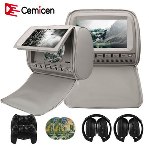 Image 1 - Cemicen 2 stks 9 inch Auto Hoofdsteun Monitor DVD Video Player 800*480 Rits Cover TFT Lcd scherm Ondersteuning IR/FM/USB/SD/Speaker/Game