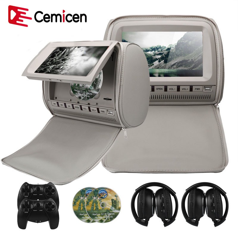 Cemicen 2PCS 9 Inch Car Headrest Monitor DVD Video Player 800*480 Zipper Cover TFT LCD Screen Support IR/FM/USB/SD/Speaker/Game-in Car Monitors from Automobiles & Motorcycles    1