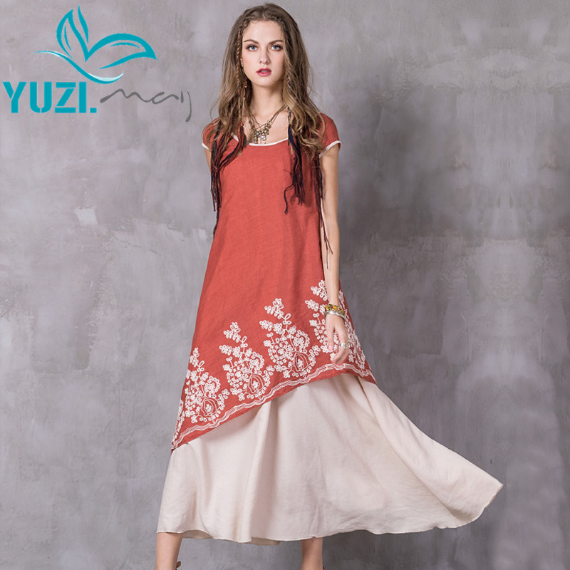 Summer Women Dress 2017 Yuzi may Boho New Cotton Linen Vestidos O Neck Short Sleeve Asymmetrical