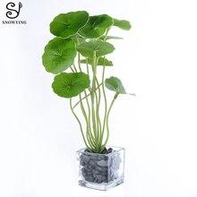 Artificial potted plants Tropical aquatic grass Glass pot Silk green leaves flower table home garden decor