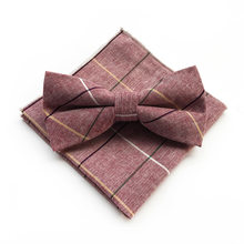Mens Del Cotone Papillon Fazzoletti Set Cravatte Abiti Papillon Hanky Business Plaid Bow Tie Pocket Piazza per la Cerimonia Nuziale(China)