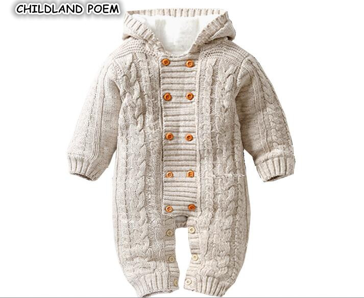 Winter Infant Baby Rompers Clothes Thick Newborn Baby Boy Girl Romper Knitted Baby Jumpsuit Overalls Hooded Toddler Outerwear 2017 baby knitted rompers girls jumpsuit roupas de bebe wool baby romper overalls infant toddler clothes girl clothing 12m 5y