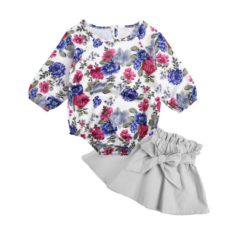 2Pcs Newborn Girls Clothing Set Long Sleeve Rose Flower Printed Romper Top + Bow Knot Short Skirt Casual Summer Autumn Clothes