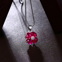 925 Sterling silver necklace women jewelry clover lady Natural semi precious stones red corundum Four petals flowers pendant