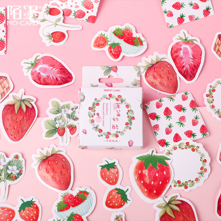 45pcs/pack Yummy Strawberry Decorative Stickers Scrapbooking Stick Label Diary Stationery Album Stickers Kids Gifts