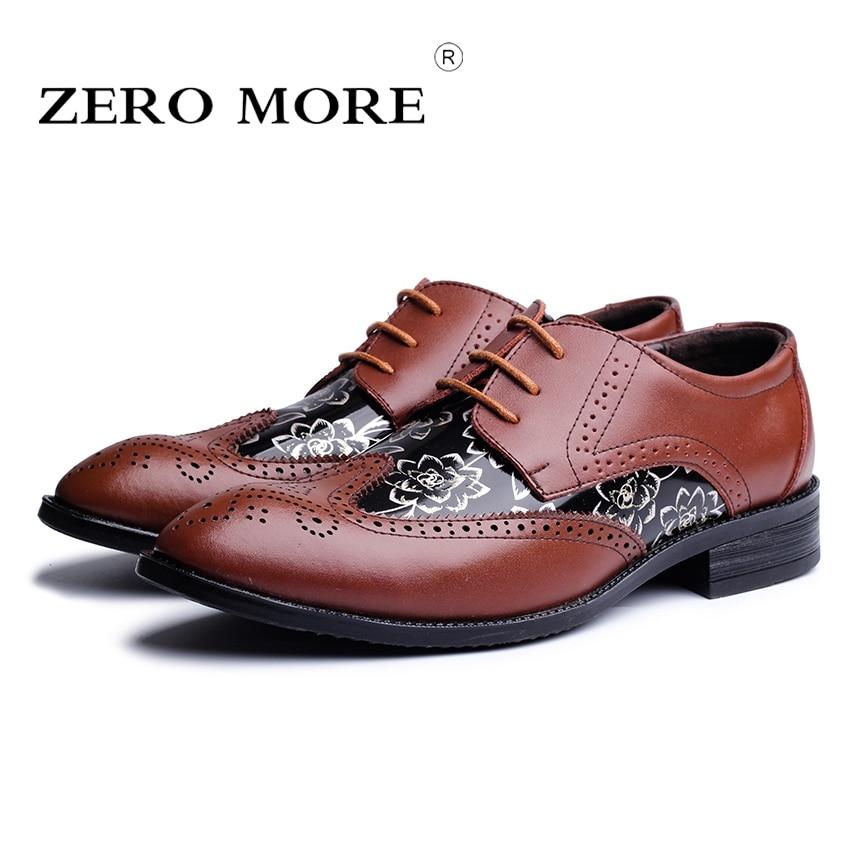 2017 ZERO MORE Brand Men Shoes Lace-up Men Casual Shoes Big Size 37-48 Business Shoes Leisure Brogue Shoes for Men #ZM115