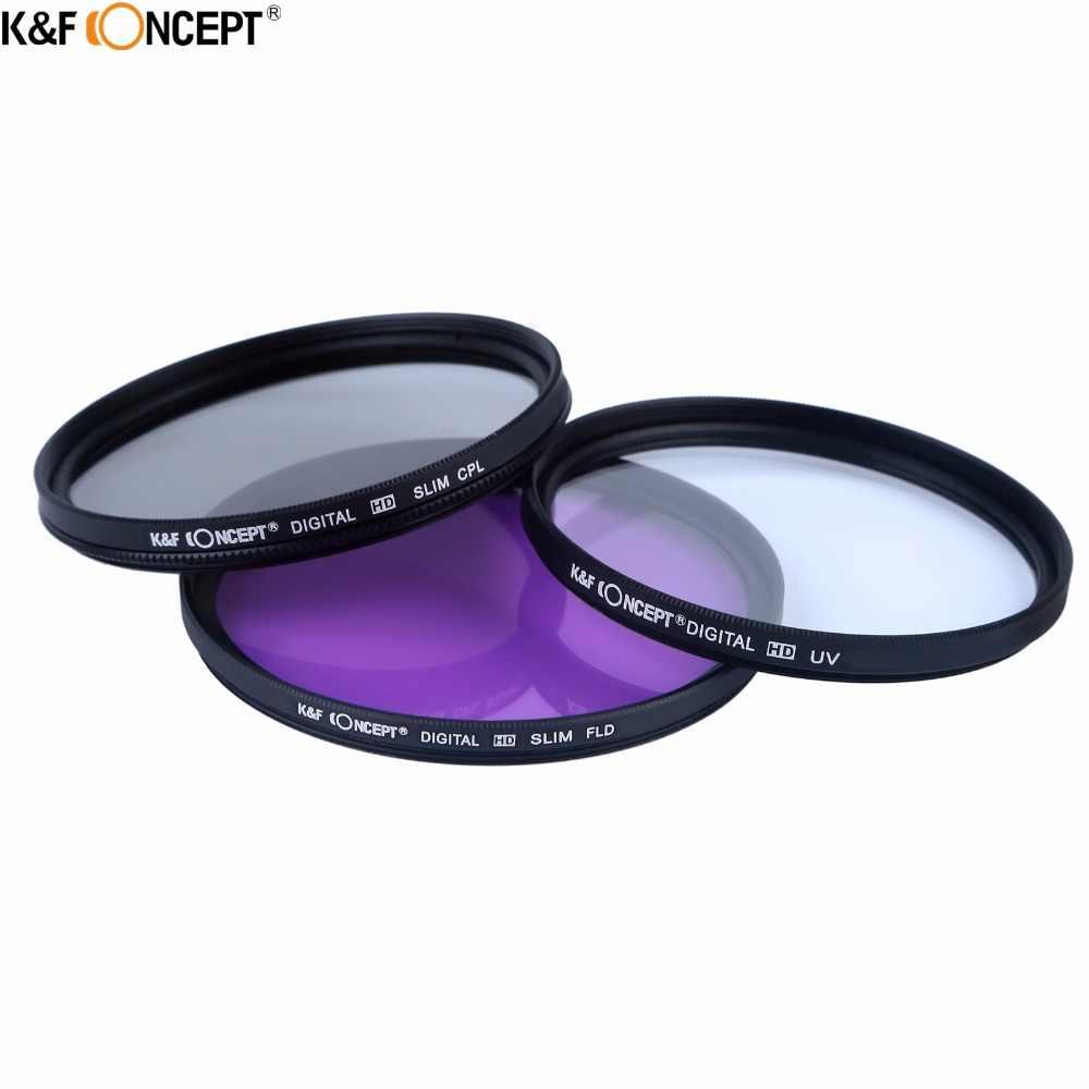 Комплект фильтров для камеры K & F, 52/58 мм, УФ CPL FLD + Градуированный серый, синий, оранжевый, красный, зеленый, коричневый цвет, фильтр + чехол + капюшон/крышка + Чистка