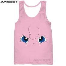 Jumeast Brand 3d Printed Men/Women Tank Tops Cute Cartoon Jigglypuff Tee Sleeveless Unisex Pocket Monster Lovely Eyes Pattern