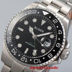 43mm bliger czarna tarcza niebieska GMT ręcznie szafirowe szkło automatyczny męski zegarek B37 w Zegarki mechaniczne od Zegarki na