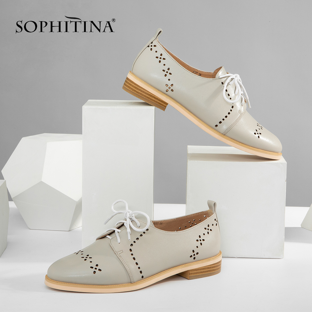 SOPHITINA Oxfords Handmade Women Shoes Blue Grey Sheepskin Casual Flat High Quality Lace up Breathable Round