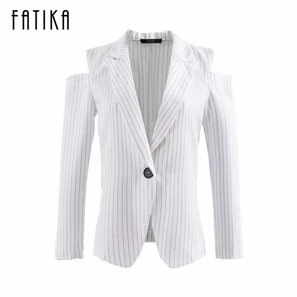 FATIKA 2017 Women Vertical Striped Blazer Office Lady Off Shoulder Suit Blazer Single Button Blazers And Jackets For Female