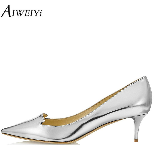 AIWEIYi Women s Med Heels Silver Patent Leather Pointed Toe Kitten Heels  Pumps 6.5CM Stiletto Shoes Slip On Ladies Wedding Shoes