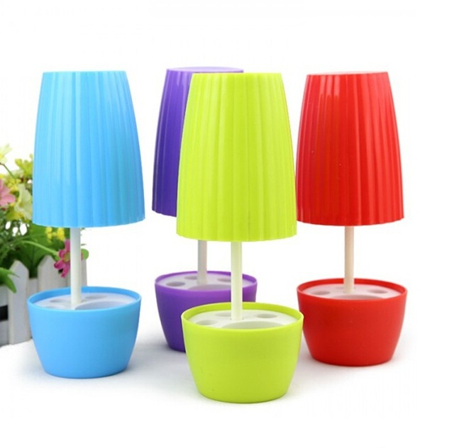 Chegada nova criativo Styling vaso roxo / vermelho / azul / verde casais escova titular conjuntos de banho cor de doces